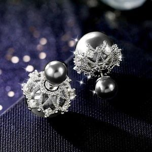 Pearlescent Gray Silver Crystal Pave Double Studs